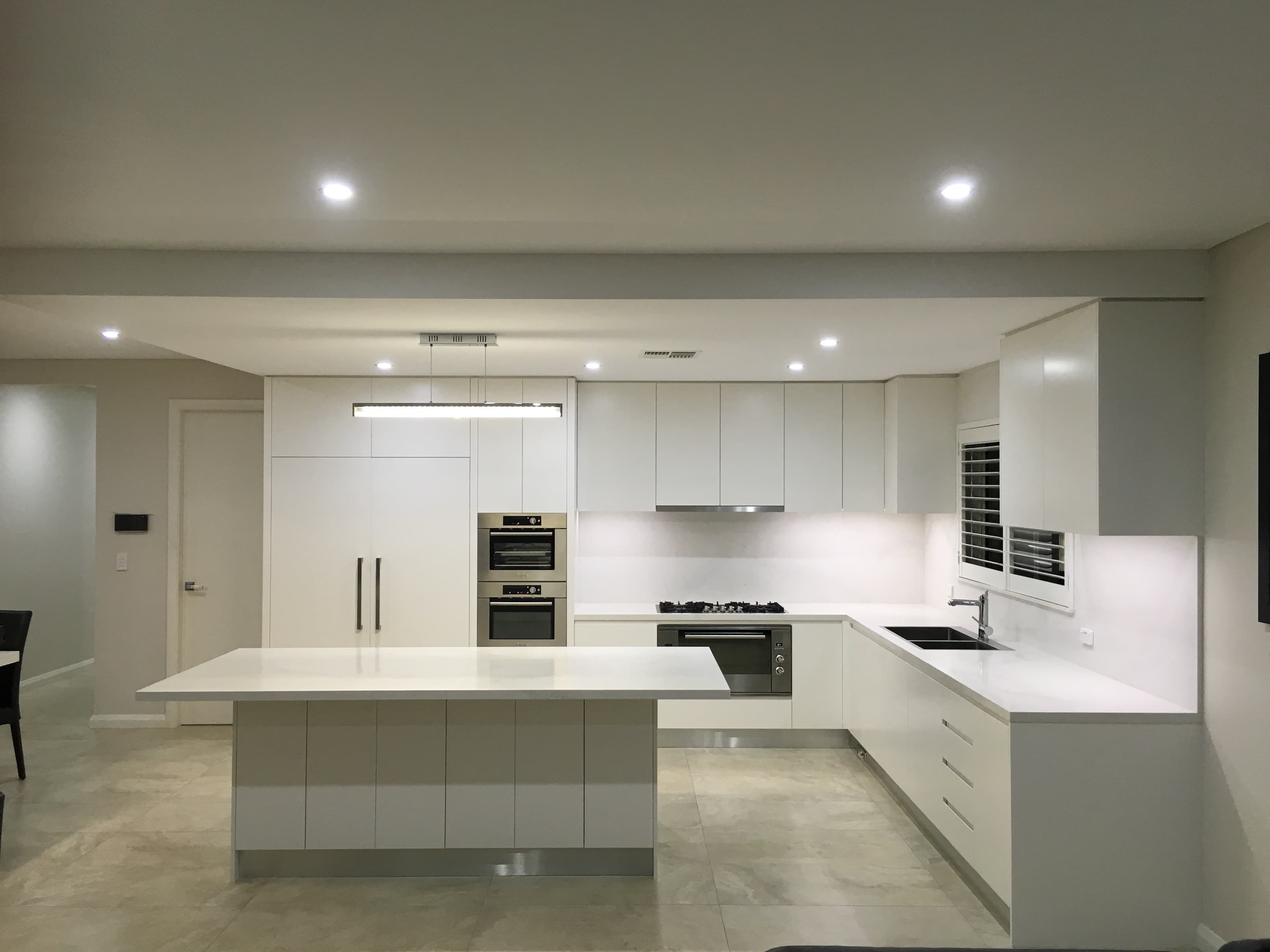 kitchen renovation project in Sydney with lights