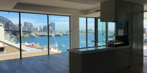 Milson Point home custom kitchen island harbour view
