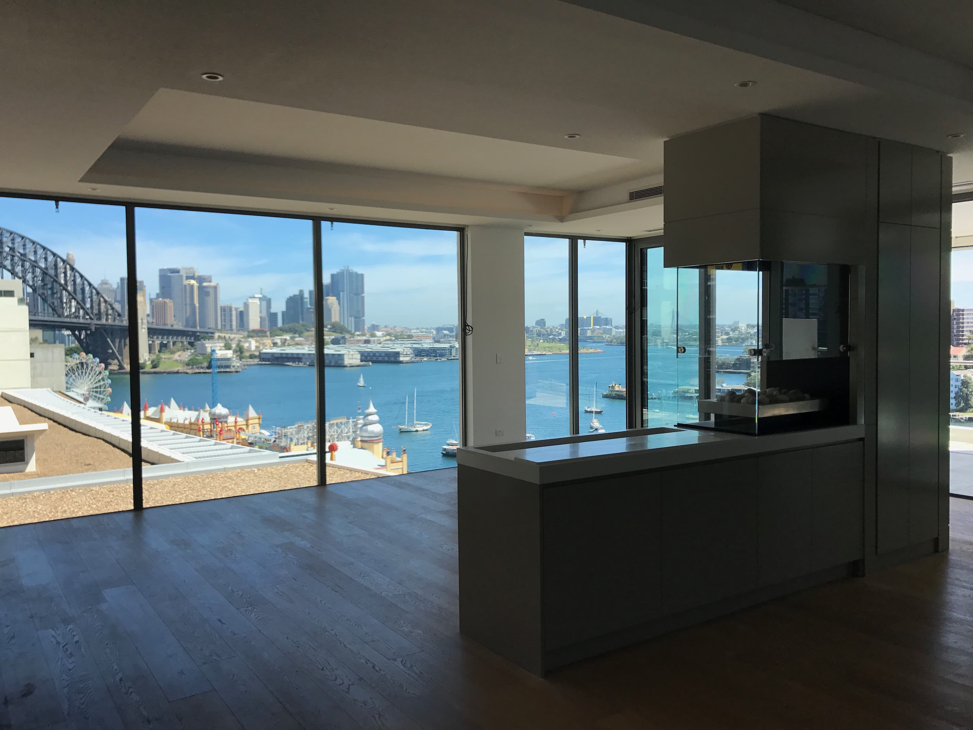 Milson Point home custom kitchen island harbour view - Badel ...