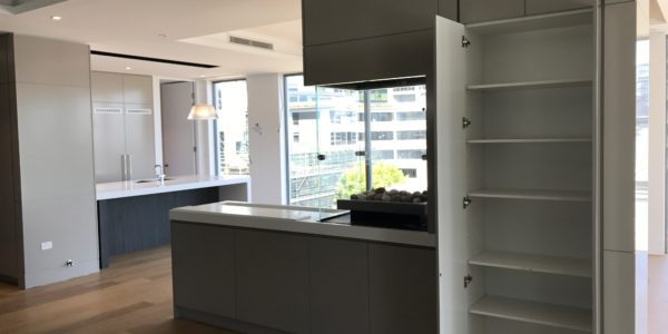 Milson Point home custom open kitchen view and open cabinet