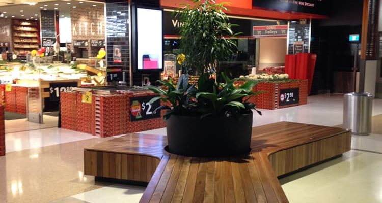Westfields Shopping Centre custom seating setup with plants
