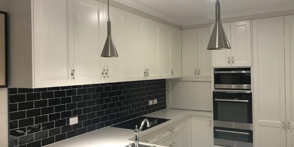modern minimalist kitchen design with subway tile backsplash