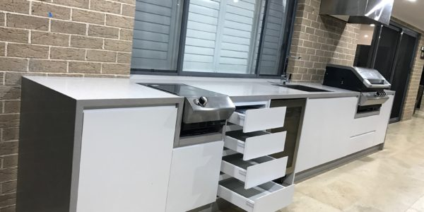 custom joinery for outdoor kitchen - opened drawers