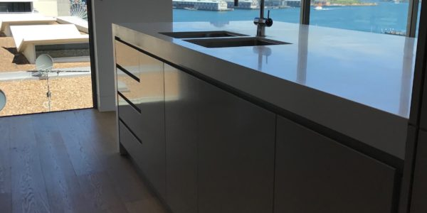Milson Point home custom kitchen island dual sink harbour view