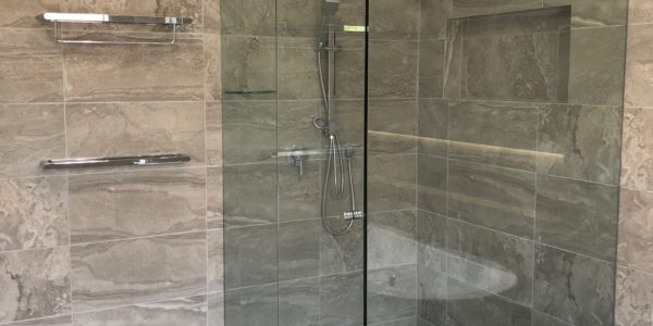 custom shower enclosure for bathroom reno - closed door